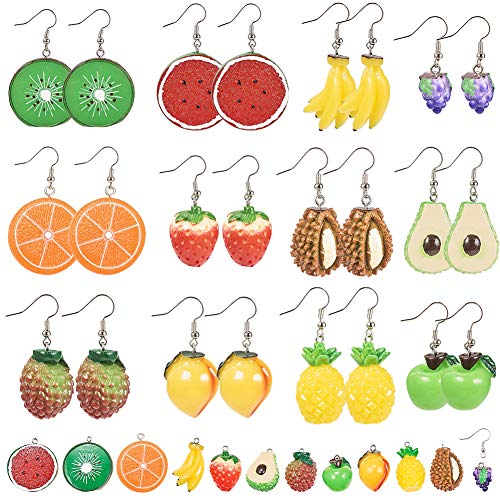 SUNNYCLUE DIY Make 12 Pairs Cute Fruits Dangle Earrings Set 3D Resin Watermelon Lemon Grape Durian Lychee Kiwi Strawberry Pendant Charms for Jewellery Earring Making Kit Supplies