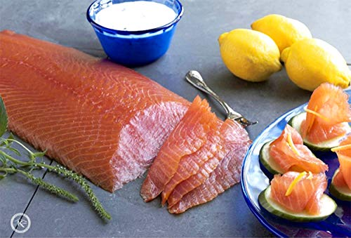 10 Lb. New York's Delicacy, Most Awarded, Pre-Sliced, Smoked Salmon Fillet, On Skin (3-4 Fillets)