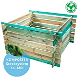 BELKO Komposter 480L aus Holz, 100x100x70cm Stecksystem...