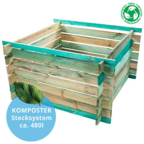 BELKO Komposter 480L aus Holz, 100x100x70cm Stecksystem Bausatz, kesseldruckimprägniert