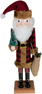 Clever Creations Traditional Wooden Old World Santa Claus Christmas Nutcracker Collectible in Flannel Fur Trimmed Coat | Festive Holiday Décor | Holding Tree & Sack | 100% Wood | 15