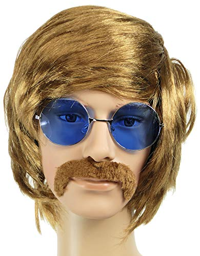 Balinco Hippie Set mit Perücke + runde Sonnenbrille mit blauen Gläsern + Schnauzbart im 60er und 70er Jahre Stil für Herren & Damen Fasching Karneval oder auf Festivals