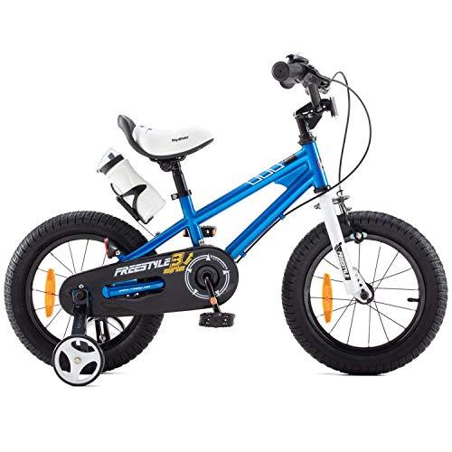 RoyalBaby Bicicletas Infantiles niña niño Freestyle BMX Ruedas auxiliares Bicicleta para niños 18 Pulgadas Azul