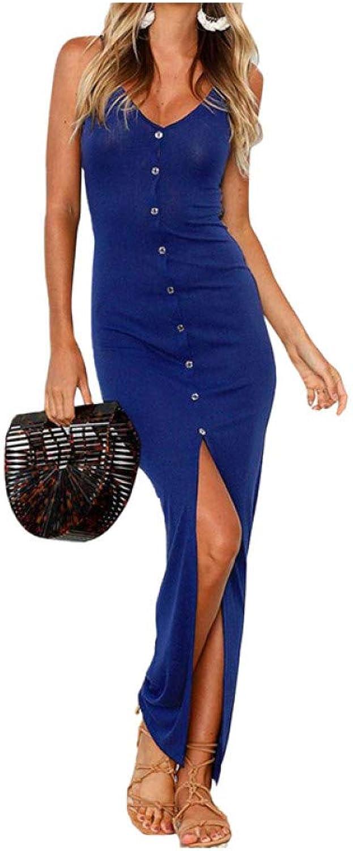 Dress for Women,bluee Sexy Front Split Bodycon Maxi Dress V Neck Spaghetti Straps Buttons Sheath Casual Long Summer Dresses Beachwear