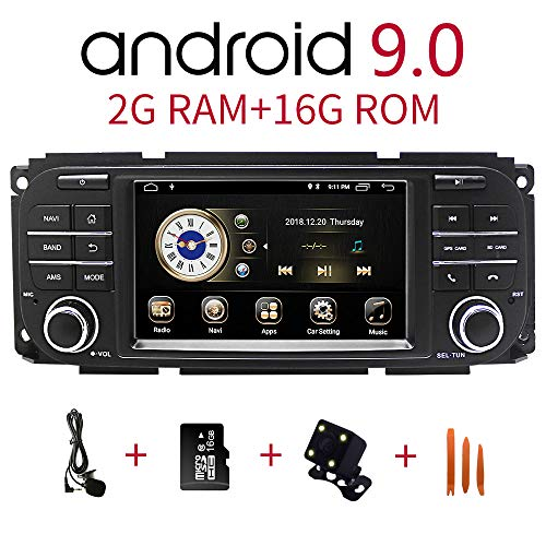 Car Stereo Radio in Dash Navigation for Jeep Grand Cherokee Dodge RAM Sebring,5 inch Touchscreen Android 9.0 Single Din Bluetooth with Rear View Camera,16GB SD Card,3.5mm Mic