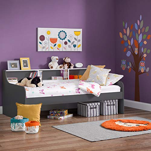 Wooden Daybed, Happy Beds Grace Grey Wood Modern Day Bed - 3ft Single (90 x 190 cm) Frame Only