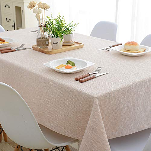 SYT Tablecloths Mantel de mantel de algodón y lino color sólido mantel IKEA mesa de café de mesa rectangular aire pequeño y pequeño, 130x220 cm, beige