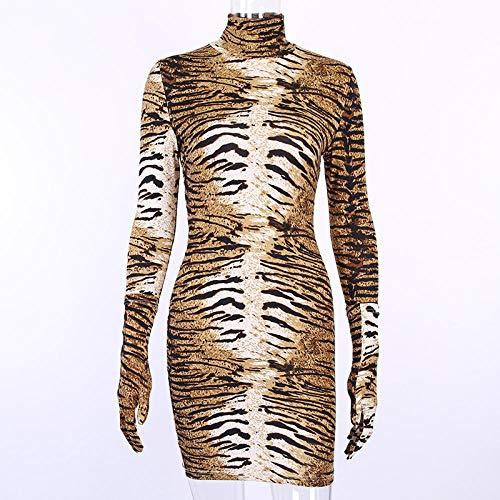 Sportswear-MZ Kleid Europa und die Vereinigten Staaten Sexy Wild Leopard Langarm Skinny Fashion Hip Rock Kurzer Rock-Tigermuster -90455_L.