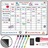 Magnetic Chore Chart for Kids Teens and Adults 12 x 17 Inches - Dry Erase Whiteboard Reward Chart for Multiple Kids with 5 Markers and Eraser - Daily Responsibility Planner