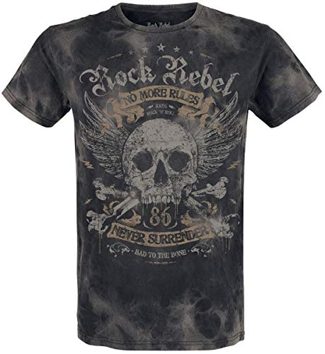 Rock Rebel by EMP Rebel Soul Hombre Camiseta Gris Oscuro S, 100% algodón, Regular