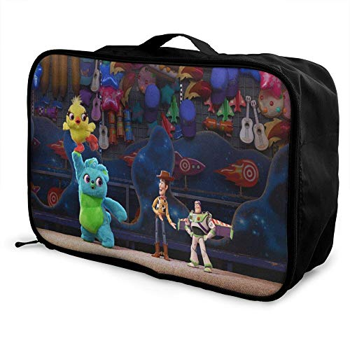 Toy Story Paable Travel Duffel Bag Folle Carry Storage Lage Tote Lightweight Large Caity Portable Lage Bag for Suitcase Trolley Handles