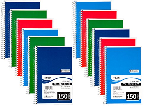"""Price comparison product image Mead Spiral Notebook 3-Subject,  150-Count,  College Ruled,  9.5"""" x 5.5"""",  COLOR WILL VARY,  12 Pack"""