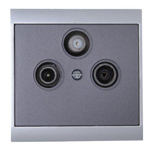 Kopp 916115081 Malta Antennensteckdose mit drei Ausgängen, TV/RF/SAT, Einzel- und Enddose, silber-anthrazit