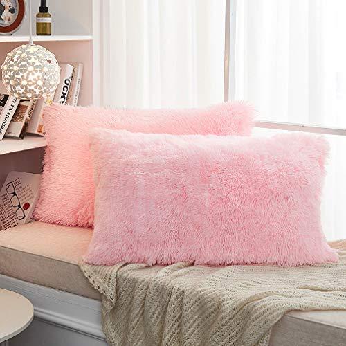JAUXIO Long Faux Fur Soft Soild Decorative Pillowcase Oblong Fluffy Throw Pillow Cover Velvet Shaggy Plush Cushion Case Set of 2 Zipper Closure Queen Size (20X26 Inches, Pink)