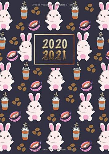 2020 - 2021: Wochenplaner Taschenkalender Terminkalender und Kalender 2020 2021 Wochenplaner und Monatsplaner von August 2020 bis August 2021 Kaninchen und Kaffee
