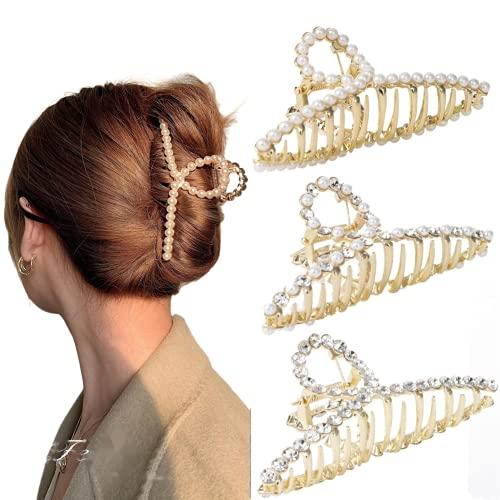 Haarspangen Damen Metall Haarklammer Groß - Dickes Haar Tocess Haargreifer Rutschfeste Haarspange Perlen Haarklammern strass Gold Hair Claw Clips Haar Spange FüR Frauen