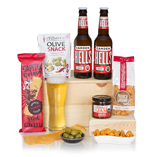 Spicy Craft Beer Hamper For Him - Camden Hells Beer - Food Gift Hampers & Chilli Snacks - Presented In A Luxury Gift Box - Birthday Beer Hampers