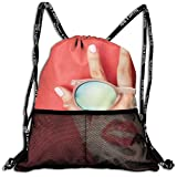 Drawstring Bundle Bags Gym Fitness Backpacks for Men Women Boys Girls Sports Hiking Cycling Camping, Red Lips And Sunglasses On The Back Of The Hand,16.5