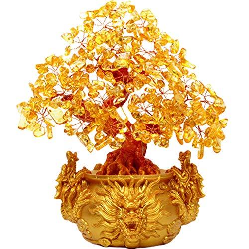 Albero dei Soldi Feng Shui, Albero dei Soldi di Cristallo Giallo Albero della Vita Feng Shui con Drago Albero di citrino Naturale Albero Fortunato per ricchezza e prosperità, miglior Regalo,Large