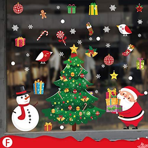 DXAQC - Adesivi natalizi per finestra, adesivi statici natalizi per il negozio, casa, ufficio, scuola di Natale, finestra di Natale, decorazione di vetro, Babbo Natale e alberi di Natale (F-#)