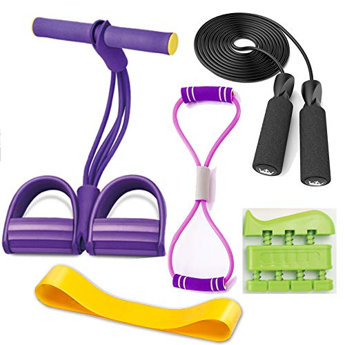 SPROUTER Pedal Resistance Band Set, Multifunctional Leg Exerciser, Sit-up Bodybuilding Expander, Pedal Resistance Band, for Yoga and Slimming Training, with Finger Trainer, Skipping Rope, Pull Rope