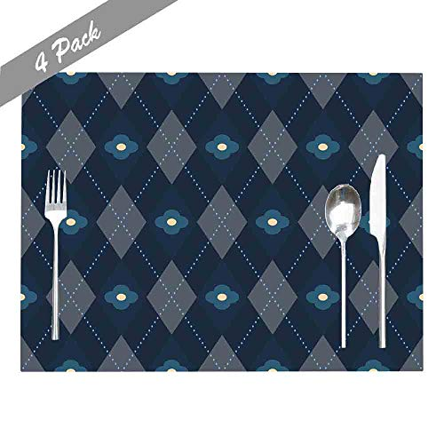 Douecish Farmhouse Placemats,Washable,Heat-Resistant Pattern Simple Geometric All Over Plaid Motif in Indigo Grey Floral Modern Placemats for Kitchen,Dining Table,Dining Room,18X12,Set of 4