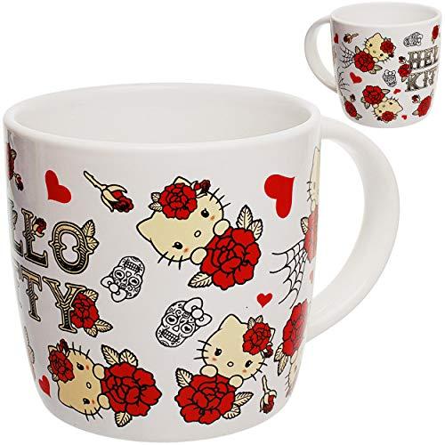 alles-meine.de GmbH 2 Stück _ große - Trinkbecher / Henkeltassen / Kaffeetassen - Hello Kitty - Katze - 350 ml - Porzellan / Keramik - Mikrowellen geeignet - spülmaschinenfest - ..