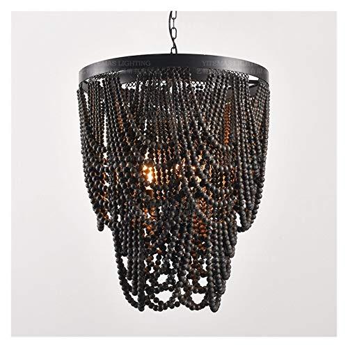 JSJJAYH Araña de Techo Negro de Madera Moldeada de la lámpara de iluminación de la Vendimia Que cuelga de Loft luz lámpara Retro francés lámpara del Dormitorio Cocina Comedor luz