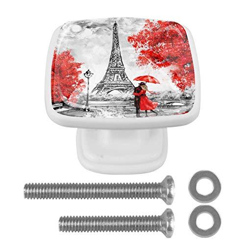 Türknauf aus Glas, für Schrank, Schrank, Schublade, Türgriff, grau/gelb, Ahorn, Paris, Turmliebhaber, 4 Stück