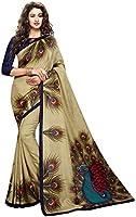 Mansvi fashion women's art silk printed saree with blouse piece (2186-MOR_beige_free size)