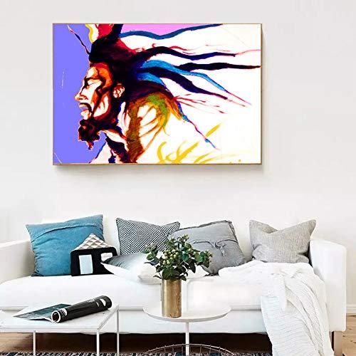 Frameloos Indruk Bob Marley Portret print Olieverf Canvas Schilderijen Gedrukt Wall Art Hangende foto's Mode Woondecoratie <> 40x50cm