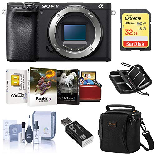 Sony Alpha a6400 Mirrorless Digital Camera Body - Bundle with Camera Case, 32GB SDHC U3 Card, Cleaning Kit, Card Reader, Memory Wallet, Mac Software Package