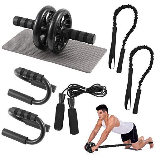 Rueda Abdominales Fitness Kit 6 en 1, Juego de Entrenador de AB Roller Rueda Abdominal con Banda de Resistencia, Cuerda para Saltar, Soporte para Flexiones y Rodillera