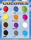 Español colores gráfico por escuela Smarts 12Bold colores y # x25CF; Totalmente laminado resistente material enrollado para protección y sellado en un póster de protección Funda.