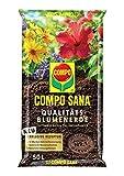 COMPO SANA Qualitäts-Blumenerde mit 12 Wochen Dünger für alle Zimmer-, Balkon- und Gartenpflanzen, Kultursubstrat, 50 Liter, Braun