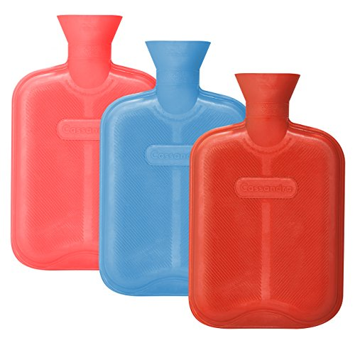 CASSANDRA Hot Water Bottle, Ribbed Surface Both Sides, 1.8 Litre, 5 Year Cassandra Guarantee, Colour Received Varies