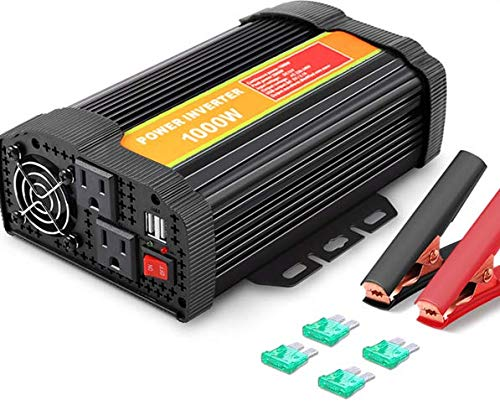 BYGD Inversor de Corriente 1000W, convertidor de 12 V CC a 110 V CA con Salidas de CA Dobles y Adaptador de Coche con Puerto USB de Carga rápida 3.1A