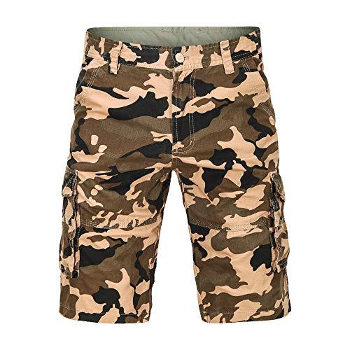 LY4U Short de Camouflage Militaire pour Hommes Multi Poches été Coupe décontractée Short en Coton décontracté randonnée pêche Camping Travail Pantalon de Combat