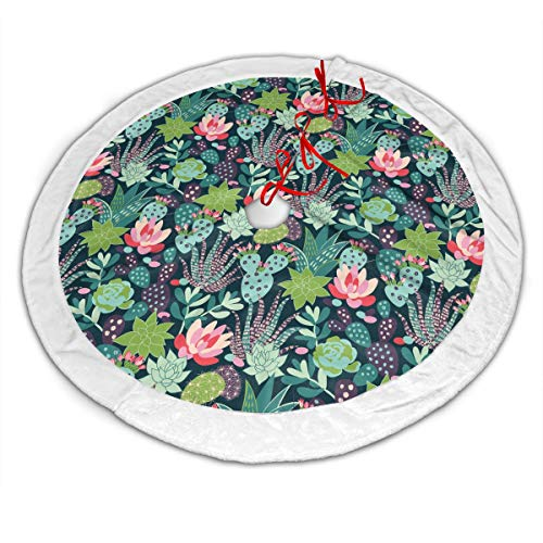 Trendy Tropical Succulents and Cactuses Christmas Tree Skirt - 48 Inches Large Luxury Velvet Tree Skirt with White Plush Border Xmas Tree Holiday Decorations