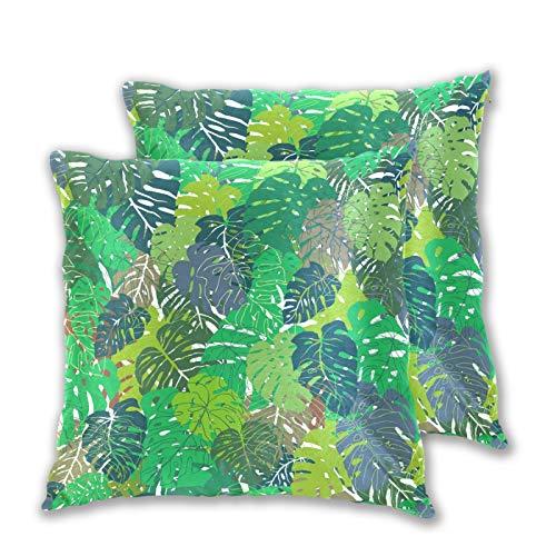 Emoya Juego de 2 fundas de almohada, diseño de hojas tropicales, color verde y azul, 50 x 50 cm
