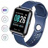 Smartwatch,Fitness Armbanduhr mit Pulsuhr Touchscreen Fitness Uhr IP68 Wasserdicht Fitness Tracker Sportuhr mit Schrittzähler Stoppuhr Smart Watch für Damen Herren für iOS Android Handy(Schwarz)