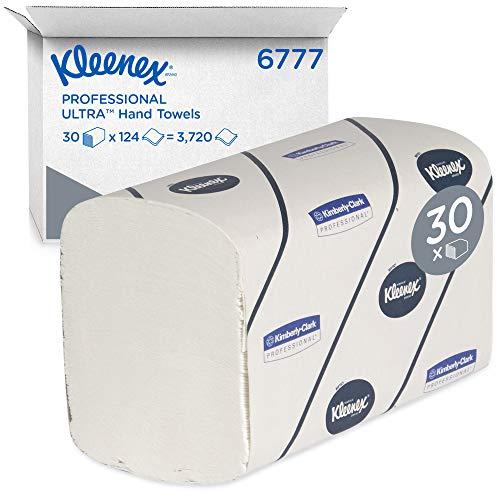 Kleenex 6777 Essuie-mains enchevêtrés Ultra, 30 paquets de 124 feuilles en papier, 2 plis, Technologie absorbante Airflex*, Couleur : Blanc, 06777000