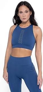HEART AND SOUL Women's Reggiseno Sportivo, Top Donna, Riviera Leo Line - Twilight Training Bra, Blue, XS/S