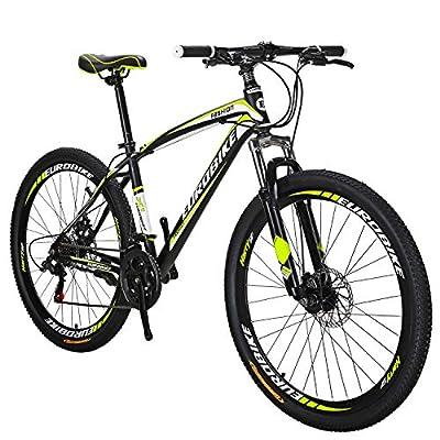 OBK 27.5 Wheels Mountain Bike Daul Disc Brakes 21 Speed Mens Bicycle Front Suspension MTB (Yellow Aluniminium Rims)