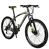 Eurobik OBK 27.5 Wheels Mountain Bike Daul Disc Brakes 21 Speed Mens Bicycle Front Suspension MTB (Yellow Aluniminium Rims)