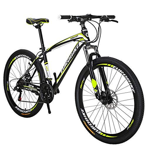 OBK 27.5 Wheels Mountain Bike Daul Disc Brakes 21 Speed Mens Bicycle Front Suspension MTB