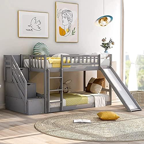 MWKL Las literas gemelas más Nuevas con tobogán para niños, literas Bajas con Escalera y Dos cajones, no se Necesitan somieres