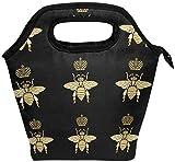 Bee Animal - Bolsa de almuerzo con cremallera y aislamiento para adultos, adolescentes, niños, niñas, hombres, mujeres, Crown Bumblebees, cajas de almuerzo, loncheras, preparación de comidas, bolso p