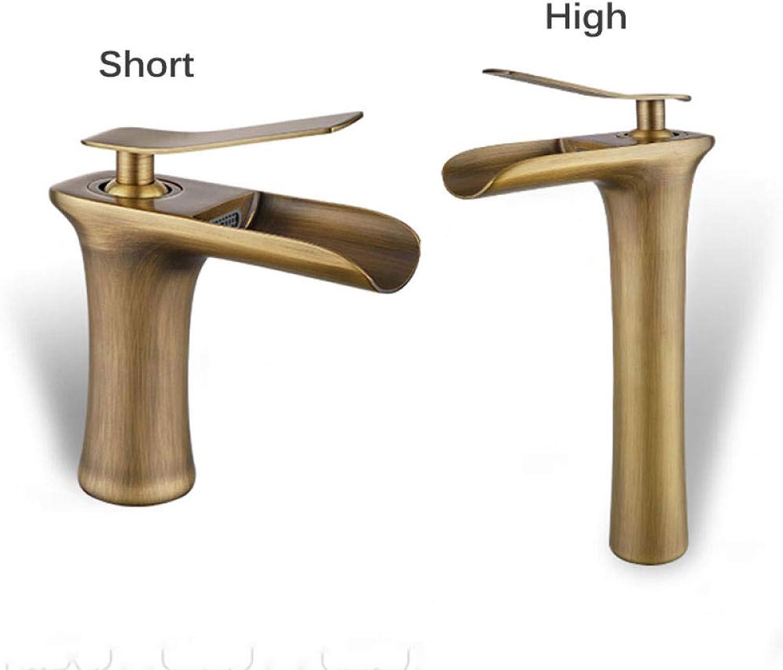 Wasserfall Bad Wasserhahn kalt heies Wasser dosiert Wasserhahn einzigen Handgriff Bad Antik Messing Becken Waschbecken Wasserhahn Kran Silber