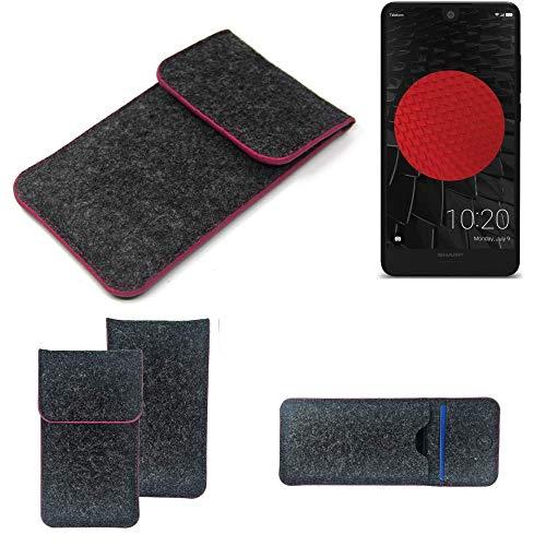 K-S-Trade Filz Schutz Hülle Für Sharp Aquos C10 Schutzhülle Filztasche Pouch Tasche Hülle Sleeve Handyhülle Filzhülle Dunkelgrau Rosa Rand